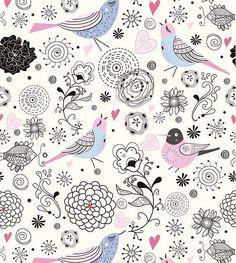Papel de parede com fundo bege e desenhos em azul, rosa, cinza e preto - Floral 92