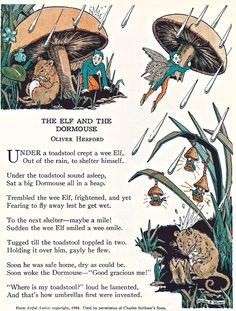 The Elf and the Dormouse illustration by Martha E. Miller Poem by Oliver Herford in Illustrator Martha E. Reprinted in Up One Pair of Stairs of My Book House, edited by Olivia Beaupre Miller, Nursery Rhymes Poems, Kids Poems, Children Songs, Pomes, Fairy Art, Children's Book Illustration, The Elf, Folklore, Childrens Books