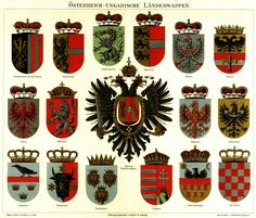 Austria-Hungarian Crown lands coat of arms and small Austrian national coat of arms, Meyers Großes Konversations-Lexikon, 1885-1892.