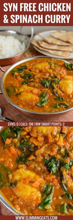 Fancy Curry? Serve this delicious Chicken and Spinach Curry for dinner tonight. The whole family will enjoy this. Gluten Free, Dairy Free, Paleo, Slimming World and Weight Watchers friendly | SYNS: 0 | CALORIES: 198 | WEIGHT WATCHERS SMART POINTS: 2 | www.slimmingeats.com