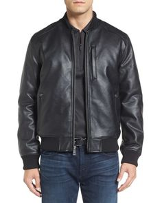 8c715e73db Cole Haan | Black Faux Leather Varsity Jacket for Men | Lyst Leather  Varsity Jackets,