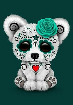 'Blue Day of the Dead Sugar Skull Polar Bear ' Art Print by jeff bartels - Tattoo ideas - Sugar Skull Tattoos, Sugar Skull Art, Sugar Skulls, Sugar Tattoo, Art D'ours, Baby Animals, Cute Animals, Day Of The Dead Skull, Day Of The Dead Artwork