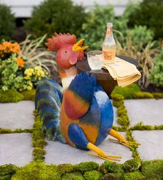 He serves up the functional charm with his airbrush-style painted colors and cut-out detailed feathers. Metal Accent Table, Metal Side Table, Accent Tables, Recycled Metal Art, Wood And Metal, Fall Decor, Color Pop, Folk Art, Paint Colors