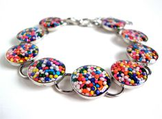 Candy resin bracelet  cupcake sprinkles by sparklecityjewelry