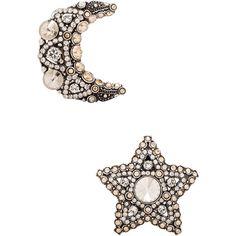 Lanvin Star & Moon Earrings ($650) ❤ liked on Polyvore featuring jewelry, earrings, star earrings, antique jewellery, lanvin, lanvin earrings and star jewelry