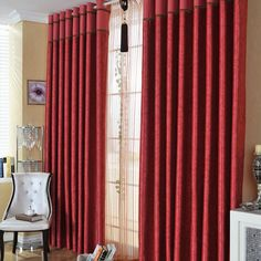living room curtains red