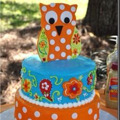 Owl cake: 1st layer is red velvet , 2nd is yellow cake with chocolate pudding and 3rd layer is chocolate with cherry filling