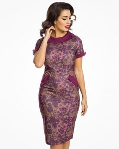 'Tiffany' 1950's Berry Floral Print Pencil Dress