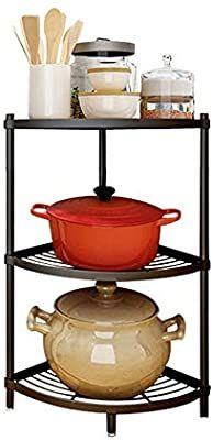 Amazon Com 3 Tier Kitchen Corner Shelf Rack Multi Layer Pot Rack Storage Organizer Stainless Steel Shelves Shelf Holder Kitchen Dining
