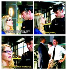 """Quentin: """"Have you heard anything from our mutual friend lately?"""" Felicity: """"Nope. In fact, I keep waiting for him to show up."""""""