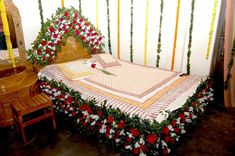 Wedding Night Room Decorations, Ribbon Decorations, Indian Wedding Decorations, Bedroom Night, Bedroom Decor, Honeymoon Night, Honeymoon Ideas, White Christmas Lights, Home Wedding