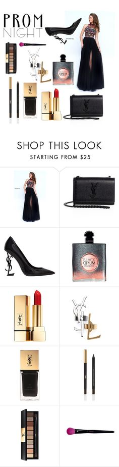 """Ysl & sherri hill prom night🖤"" by queen-arine ❤ liked on Polyvore featuring Sherri Hill and Yves Saint Laurent"
