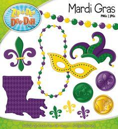 Mardi Gras Clipart    Includes Beads Masks by ZipADeeDooDahDesign