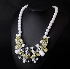 WHOLESALE FASHION JEWELRY ACCESSORIES NEW DESIGN LADY BIB STATEMENT LUXURY DELICATE MULTI CRYSTAL ACRYLIC NECKLACE HOT