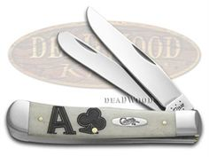 CASE XX Ace of Clubs Natural Bone Trapper Stainless Pocket Knife - CA43403 | 43403 - 021205434032