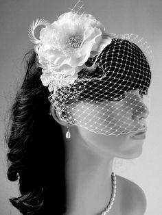 Bridal birdcage veil, wedding hair accessories Bridal birdcage veil, Wedding Fascinator, wedding head piece, Ivory Bridal headpiece