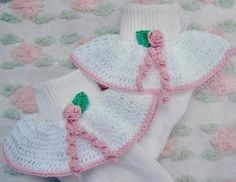 Cotton Socks*crocheted ruffles decorated  with crocheted rosebuds and leaves