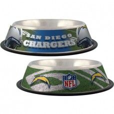 Feeders: San Diego Chargers Stainless Dog Bowl