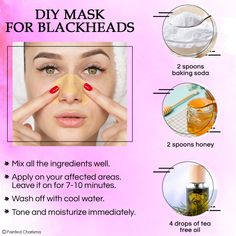 If you're finally ready to rid yourself of blackheads, learn How to remove blackheads at home. Try these Best Home Remedies for Blackheads and pores. Diy Beauty Mask, Beauty Tips For Glowing Skin, Beauty Tips For Face, Beauty Skin, Blackhead Mask, Blackhead Remover, Blackhead Remedies, Diy Peel Off Mask, Beauty Care Routine