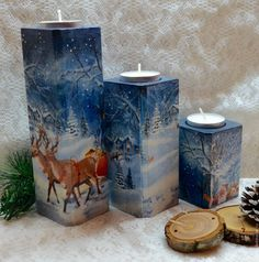 I wonder if I can make one like that. Christmas Decoupage, Christmas Wood Crafts, Christmas Candles, Christmas Art, Christmas Ornaments, Decorative Painting Projects, Decoupage Wood, Cement Art, Blue Candles