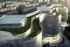 Zhenghong Property Air Harbour Office Project, designed by Aedas, comprises three interconnecting office buildings in Zhengzhou, the provincial capital of Henan Province and a major transportation hub in central China. The design scheme delivers a Green Architecture, Futuristic Architecture, Concept Architecture, Architecture Design, Building Facade, Green Building, Building A House, Eco Buildings, Green Facade