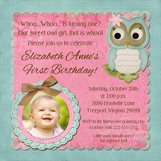 Sweet Owl Birthday Invitation - Photo Little Girl Pink & Teal