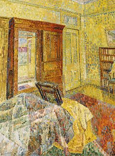 """Interior in yellow"" in 1962/1964 by Grace Cossington Smith. Oil on composition board."