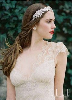 Enchanted Atelier for Claire Pettibone {Finale} crown/headband featured on Elle.com-China--Image Details: Laura Gordon Photography; Liz Wegrzyn MUA; Gowns by Claire Pettibone; Model Leanne Hyer; Location Goodstone Inn; Headpieces & Accessories by Enchanted Atelier, Enchanted Atelier for Claire Pettibone, & Enchanted Atelier for Maison Sophie Hallette--