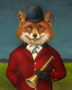 Fox Hunting Fox Portrait by Lisa Zador www.curiousportraits.etsy.com  Soon to be featured on the wine labels of Fox Hollow Vineyards!
