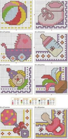 Various Free Baby and Children Cross Stitch Pattern Baby Cross Stitch Patterns, Cross Stitch For Kids, Cross Stitch Cards, Cross Stitch Baby, Cross Stitch Animals, Cross Stitch Designs, Cross Stitching, Cross Stitch Embroidery, Embroidery Patterns