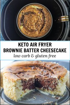 For a tasty keto dessert, try this air fryer brownie batter cheesecake. A layer of fudgy sugar free brownie batter and a layer of creamy and rich cheesecake. Super easy to make in the air fryer.