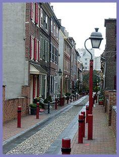 No Cars Allowed - Narrow Street and Row Houses in Philadelphia, Pennsylvania