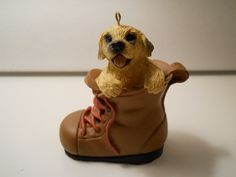 Puppy in Boot Ornament, Christmas Ornament, Collectible Dog Ornament, Sand Color Puppy Ornament by PiccoloPattys on Etsy