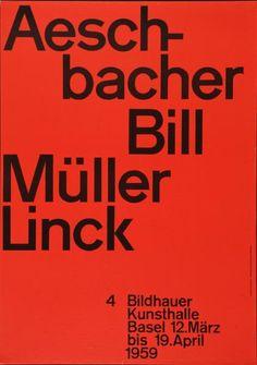 Aeschbacher - Bill - Müller - Linck - 4 Bildhauer - Kunsthalle Basel-Plakat