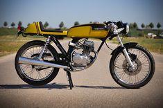Honda Café Racer - Pipeburn - Purveyors of Classic Motorcycles, Cafe Racers & Custom motorbikes Cb750 Cafe Racer, Scrambler Motorcycle, 50cc Moped, Custom Moped, Custom Bmw, Custom Bikes, Ducati Pantah, Honda Cb750, Honda Bikes