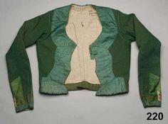 Tröja i vadmal, kantad med sidenband. Oxie, 1820-40. Nordiska Museet, nr. NM.0000220