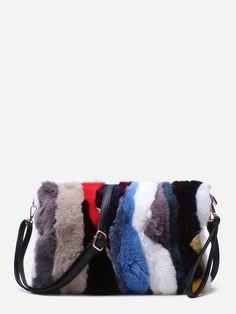 Online shopping for Color Block Vertical Striped Rabbit Fur Shoulder Bag from a great selection of women's fashion clothing & more at MakeMeChic. Fur Purse, Things To Buy, Stuff To Buy, Vertical Stripes, Rabbit Fur, Online Bags, Bucket Bag, Womens Fashion, Fashion Bags