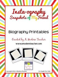 Insta-ography; fun end of the year biography printables inspired by Instagram $3.50