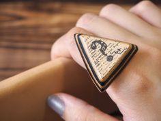 Question Mark Adjustable Leather Ring  Handmade  by ES Corner www.es-corner.com