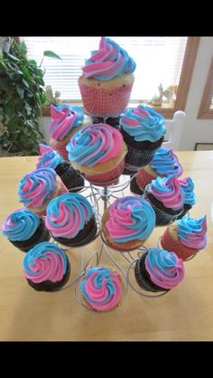 blue and pink choclet cupcakes delicus