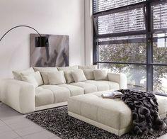DELIFE Big Sofa Valeska 310x135 Mit Hocker Grau Weiss, Big Sofas 4087