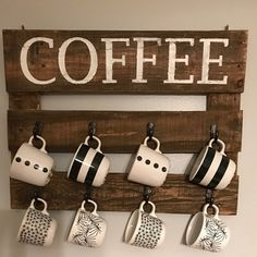 Coffee Mug Hanger, Coffee Sign, Rustic Coffee Mug Hanger by AtoZHomeDecor on Etsy https://www.etsy.com/listing/533601023/coffee-mug-hanger-coffee-sign-rustic