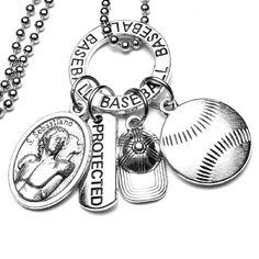BASEBALL Patron St. Sebastian Catholic Holy Medal Protected St Sebastian, Patron Saints, Catholic, Charmed, Baseball, Unique Jewelry, Bracelets, Handmade Gifts, Vintage