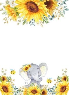 Baby Shower Invitations For Boys, Baby Shower Themes, Baby Boy Shower, Baby Shower Parties, Shower Ideas, Baby Theme, Sunflower Nursery, Sunflower Baby Showers, Elephant Love