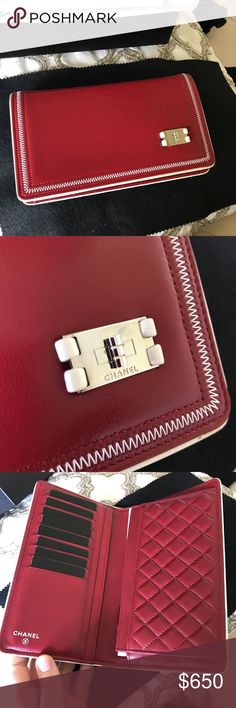 Chanel Rare Red White Stitch Turnlock Wallet Hard to find style- never used! CHANEL Bags Wallets