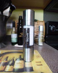 A very cool salt and pepper grinder. It's a 2-in-1 for salt and pepper! I use it with black peppercorns and pink himalayan salt. I love it!