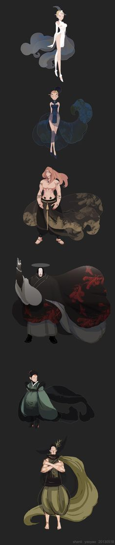SHANLI by yao yao, via Behance  - i like the circle tattoos on the shirtless guy. Maybe have a different motif in each circle...
