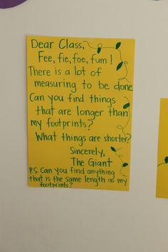 Find things bigger or smaller then the giants footprint. Busy Bees Preschool: Jack and the Beanstalk
