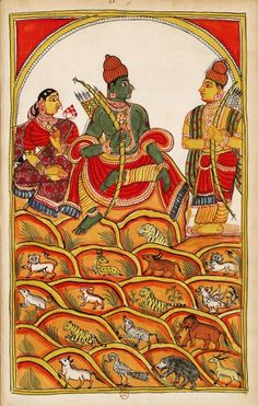 Rama, Sita and Lakshmana in their hermitage atop Mt. Chitrakuta, which is inhabited by  elephant, tiger, rabbit, bear, bird, buffalo, etc.) between the rocks. The Ramayana, 1727 and 1758.