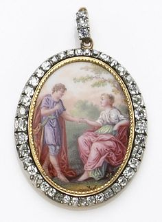 A painted porcelain, diamond and silver-topped gold pendant, early 19th century  featuring an oval painted porcelain depicting a couple in a pastoral setting, framed by old mine-cut diamonds; estimated total diamond weight: 4.00 carats.